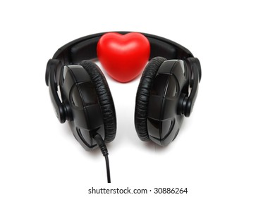 Headphones with heart inside isolated on white