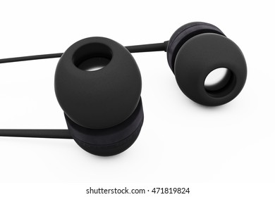 Headphones, in-ear. Isolated on white background. 3d render.
