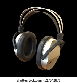 Headphones isolated on black background 3D rendering