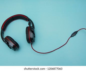 Headphones isolated on the blue background