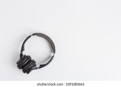 headphones isolated on white background , flat lay image