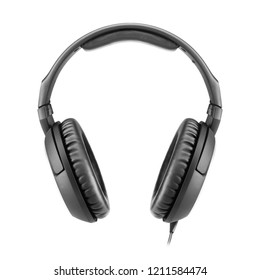 Headphones  Isolated on White Background. Front View Black Weird Stereo Headset With Inline Mic Integrated Microphone and Audio Cable. Advanced Acoustic Stereo Sound System Powerful Neodymium Magnets
