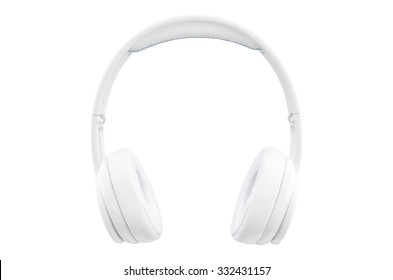 Headphones isolated. White wireless headphones. Front view photo. Isolated on white background