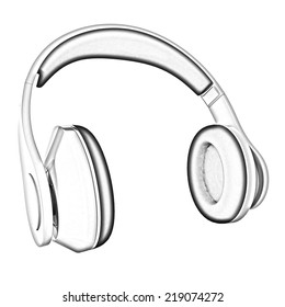 headphones on a white background. Pencil drawing
