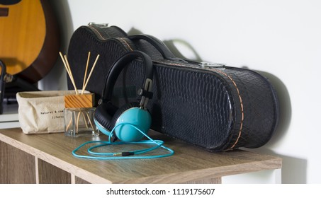 Headphones on the wooden table