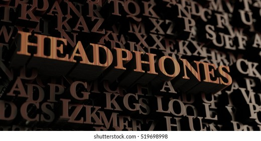 Headphones - Wooden 3D rendered letters/message.  Can be used for an online banner ad or a print postcard.