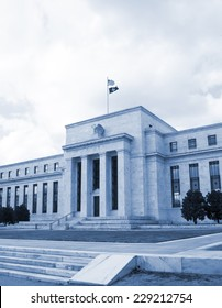 headquarter of the Federal Reserve in Washington, DC, USA,FED, cyanotype
