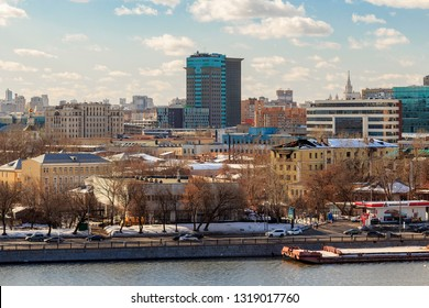 """Headquarters of Oil & Natural Gas Company Rosneft (formerly office of OJSC """"Yukos Oil Company"""") on Dubininskaya street of Zamoskvorechye District, Moscow February 2019. Beautiful sunny snow winter day"""