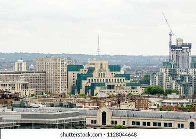 Headquarters of the UK's Secret Service, more commonly known as MI6 on the banks of the Thames in Lambeth.  Viewed from a tall building in Westminster with the prominent Crystal Palace television