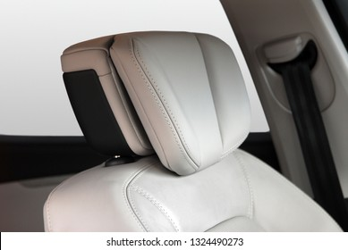 headrest on the front seat in the car