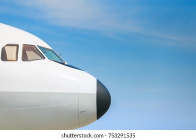 The head's airplane with the blue sky for background.