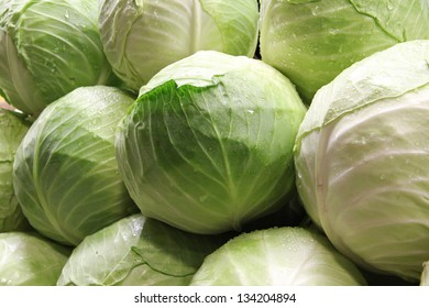 Heads of cabbage in super market