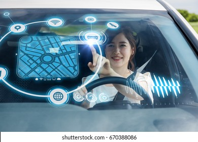 Heads up Display (HUD) of vehicle. Graphical User Interface (GUI). Futuristic car. Automotive technology.