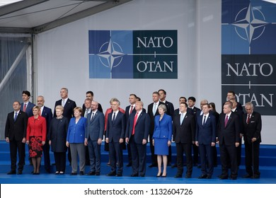 Heads of governments of member countries of NATO at the opening ceremony of NATO summit 2018 in front of NATO headquarters in Brussels, Belgium on July 11, 2018.