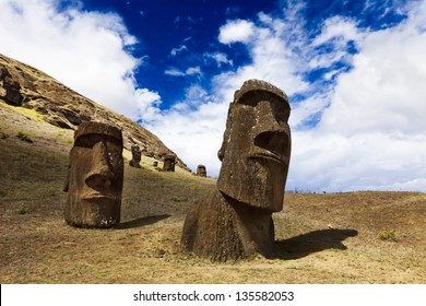 Heads of moais standing on a mountain in Easter Island