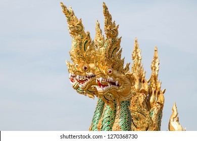 Heads of Naka or Naga or serpent in buddhist, Thailand.