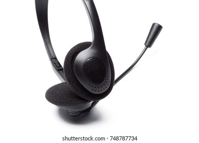 headset with microphone isolated on white