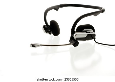 Headset on reflecting white background