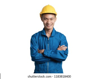 Headshot Asian engineer young man smile in blue suit isolated on white background.