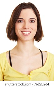 Headshot of attractive happy young woman smiling