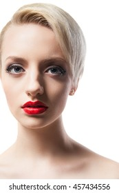 Headshot of beautiful model with red lips and blonde short hair