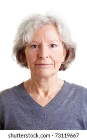 Headshot of an beautiful old smiling woman