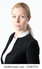 A headshot of a blonde businesswoman on a white background.