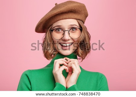 489155fdd4012 Headshot Delightful Smiling Clever Woman Innocent Stock Photo (Edit ...