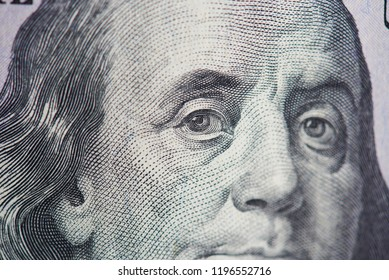 Headshot of franklin president  on hundred dollar bill close up view