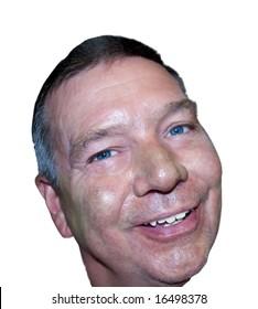 Headshot of a handsome senior needing a shave, isolated on white background.