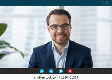 Headshot portrait screen view of confident businessman talk on Webcam conference with business client, smiling male employee speak on video call, communicate online using wireless Internet connection