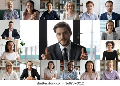 Headshot screen application view of smiling multiracial employees talk speak on video call brainstorm together, multiethnic coworkers engaged in team discussion online using Web conference