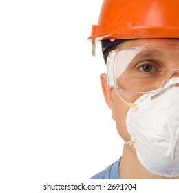Headshot of a worker in protective workwear, isolated