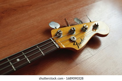"Headstock of a Fender ""Precision bass"" electric bass guitar."