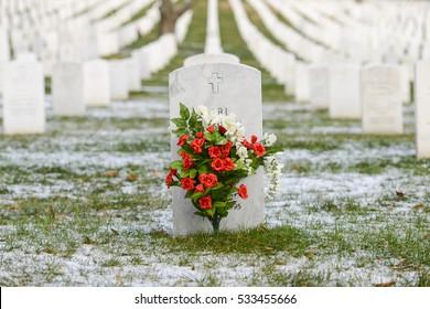 Headstone in Arlington National Cemetery in Winter - Near to Washington D.C.