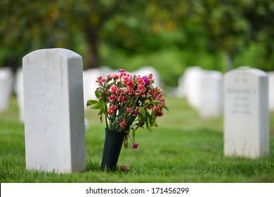 Headstones in Arlington National Cemetery - Washington DC United States