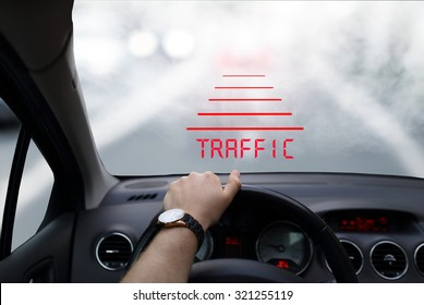 Head-up system technology in car in foggy morning