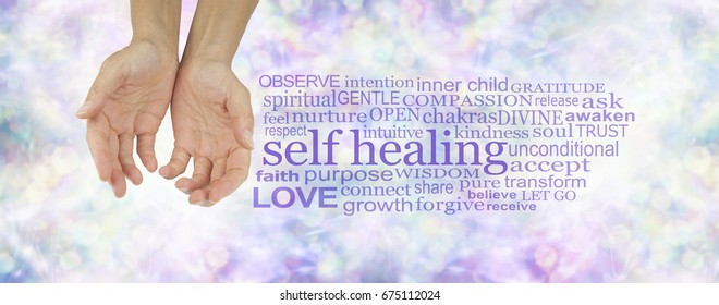 Heal Thyself - female hands in cupped position on a subtle  pastel multicolored bokeh background  with a purple SELF HEALING word cloud to the right