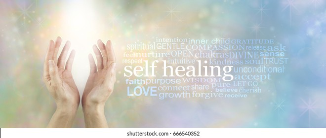 Heal Thyself - female hands reaching up into soft white light beam with a SELF HEALING word cloud to the right on a pale blue and gold ethereal background