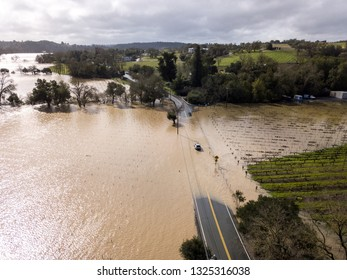 Healdsburg, CA / USA - Feb 27 2019 - Flooding beside the Russian River on Westside Road.