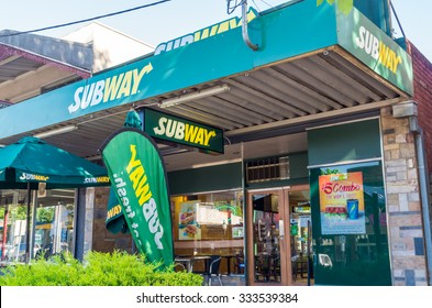 Healesville, Australia - October 28, 2015: Subway is an American franchise chain of sandwich shops, operated by Doctor's Associates. This store is in Healesville in the Yarra Valley.
