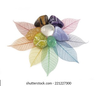 Healing Chakra Crystals on Leaves  -  Chakra colored tumbled crystals placed on an arrangement of rainbow colored skeleton leaves forming a flower shape