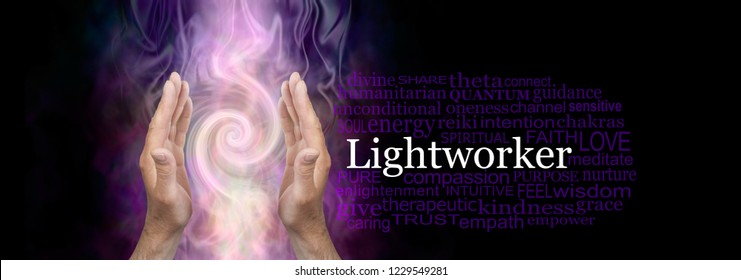 The healing hands of a Lightworker word cloud - male hands in an upwards open gesture beside the word LIGHTWORKER and a relevant word cloud on dark background with Fibonacci spiral behind