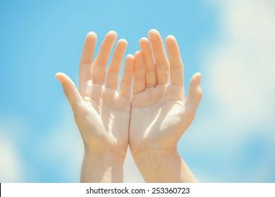 Healing hands on the sky