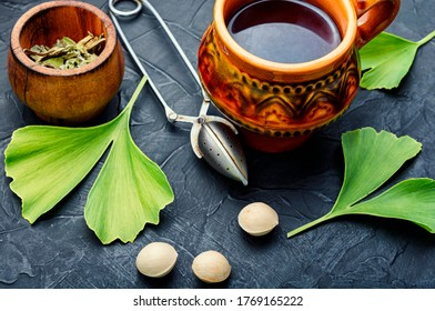 Healing herbal tea from the leaves and seeds of ginkgo biloba.Medical plants.Herbal medicine