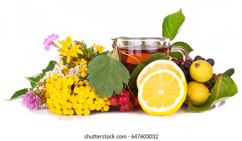 healing herbal tea in a transparent Cup with the herbs St. John's wort, tansy, yarrow, clover, and berries of hawthorn and wild pear on white background