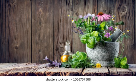 Healing Herbs And Essential Oil In Bottle With Mortar - Homeopathy and Alternative Medicine