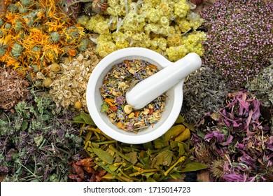 Healing herbs and mortar of medicinal herbs - thyme, coneflower, marigold, daisies, helichrysum flowers, heather, mistletoe. Herbal medicine, top view.