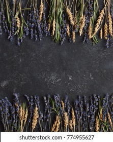 Healing herbs, Roseberry, wheat and lavender, Copy space, Top view