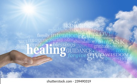 Healing Rainbow Sky Word Cloud - Blue sky and clouds with a man's hand palm up and the word 'healing' above as a rainbow arcs out of his palm with healing words floating across the rainbow